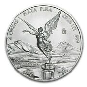 2020 Mexico Libertad 2 Oz Silver Limited Bu Capsuled Coin - Only 5500 Minted
