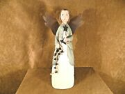 Folkart Hand Carved Angel Holding Bells And Candle-tin Wings-hand Painted