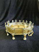 Antique Brass Pre Russian Revolution Ornate Platter And Stand /m