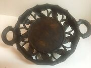 Antique Black Forest Swiss Wood Carved Large Round Tray-bowl Music Box