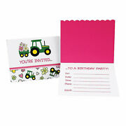 John Deere Pink Invitations 8 - Party Supplies - 8 Pieces