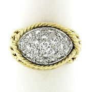 Vintage 18k Gold And Platinum 1.40ct Diamond Dome Twisted Wire Statement Band Ring