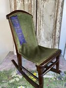 Antique Salesman Sample Doll Size Early Carpet Rocking Chair