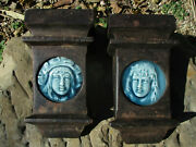 Antique Cast Iron Fireplace Corbels W/ Faience Tile Architectural Salvage