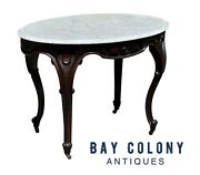 19th C Antique Victorian Marble Top Walnut Parlor Table