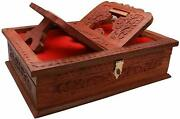 Decorative Wooden Rehal Box With Holy Books Stand For Geeta Ramayan Bible Quran