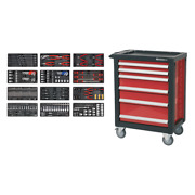 Toolbox Rollcab 6 Drawer With Ball Bearing Slides Red 298pce Toolkit