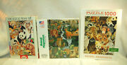 Jigsaw Puzzles 3 Assorted Jungle Themed 500 To 1,000 Pieces New S9389