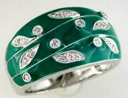 Estate Wide .14ct Diamond And Aaa Green Enamel 14kt White Gold Multi Leaf Fun Ring