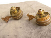 Two Oil Lamps Old W Mounts Antique Removable Numbered Base Western Rustic Gk