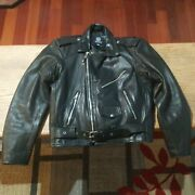 Vintage Rebel Rider Just Brass Leather Jacket Black Motorcycle Size 42 70and039s 80and039s