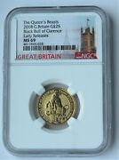 2018 Gold Queenand039s Beast Black Bull Of Clarence 1/4 Oz Ngc Ms 69 Er Low Pop.