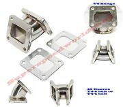T4-4 Bolt Flange To T4-4 Bolt Flange 45deg Turboelbow Ss Adapter Downpipe+gasket