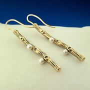 Mignon Faget Retired 14k Yellow Gold Pearl Exotica Collection Dangle Earrings