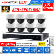 Hikvision 4k 8mp Smart Cctv System P2p 8ch Nvr 8poe Dome Ip Security Camera Lot