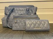 Deluxe Vera Bradley Quilted Leather Set - Emma Tote Mia Wristlet Audrey Wallet