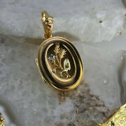 Victorian Locket With White And Orange Highlights Set In 14k Yellow Gold 1880's