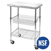 Seville Classics Stainless Steel Nsf Kitchen Work Table Cart 24 Wx20 Dx36h