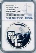 James Bond No Time To Die 007 2020 Tuvalu 1oz Silver Coin 1 Ngc Pf70 Uc Fr