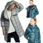 Nike Womenand039s Asymmetric Zip Up Puffer Quilted Goose Down Hooded Jacket 75 Down