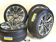 20 Rims Tires 375m Wheel Fit Bmw X5 X6m Staggered X10 X11 Grey Machined Package