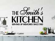 Family Name Surname Kitchen Vinyl Stickers Decals Custom Wall Art Decor Ref3