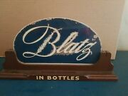 Vtg 1940s Blatz Beer In Bottle And Cans Reverse On Glass Back Bar Sign Rare
