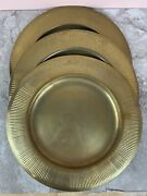 """3 Vintage Solid Brass Charger Plates Made In India Patina Ribbed Edge 12"""""""