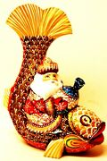 Alkota Russian Authentic Wooden Collectible Santa On The Magic Fish, 10h