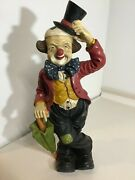 Vintage Large Resin Clown Figurine Statue W/ Top Hat And Umbrella Really Nice