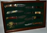North American Hunting Club Knife Collection Display - 8 Knives Hunting Heritage