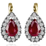14k Yellow And White Gold Lab Created Ruby And Diamond Russian Style Earrings E1477