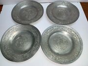 Rare Antique Collectible Lot Of 4 Beautiful Carving Plates