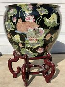 Giant Chinese Hand Painted Porcelain Fish Bowl Decorated With Fish And Ducks