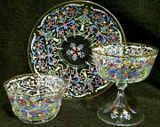 All Handblown Hand Painted Antique Bohemian Crystal Set 34 Pieces Mint On Sale