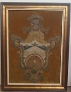 Rare Find Antique 18th Century Hand Embroidered Coat Of Arms
