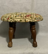 Vintage Solid Wood Needlepoint Floral Sewing Foot Stool Bench Furniture Ottoman