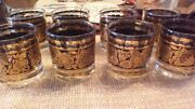 8 22k Gilded Georges Briard Mid Century Gold/black Glasses Rocks Town And Country