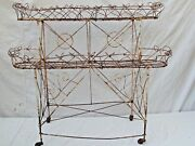 Antique Victorian Wire 2 Tiered Plant Stand