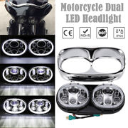 Motorcycle Led Dual Headlight 100w Drl Ring For Harley Road Glide 2004-2013