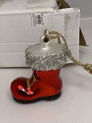 Pottery Barn German Glitter Santa Boot Ornament Christmas Mercury Boxed Sold Out
