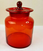 Red Smooth Clear Glass Canister Amberina Style With Lid 9t X 6w