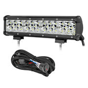 12in 320w Led Work Light Bar Tri Row Combo Driving Offroad Tractor + Wiring Kit