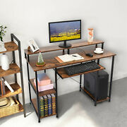 Wooden Computer Desk With Monitor Stand And Keyboard Drawer Home Workstation.