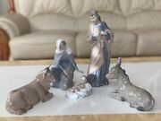 Vtg Nao By Lladro 5 Pieces Porcelain Nativity Figurines Set 1981 Spain Christmas