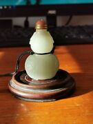 Antique Chinese Carved Hetian Celedon Jade Snuff Bottle