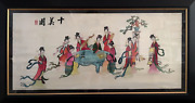 Unknown Chinese Women Gathered Around Table Embroidery On Silk Signature U.l