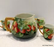 Antique T.v. Limoges Hand Painted Water Cider Pitcher W/3 Cups Apples Stunning