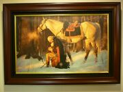"""""""prayer At Valley Forge"""" Arnold Friberg 18 X 27 And Framed 24 And 33 Open"""
