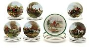 China English Bone Coasters And Butter Pats Hunt Scenes Lovely Colors